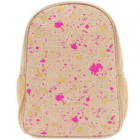 SoYoung Raw Linen Toddler Backpack - Fuchsia Gold Splatter