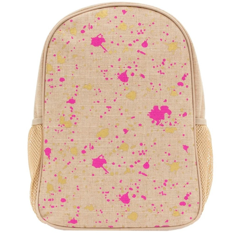 SoYoung Toddler Backpack Fuchsia Gold Splatter Uncoated