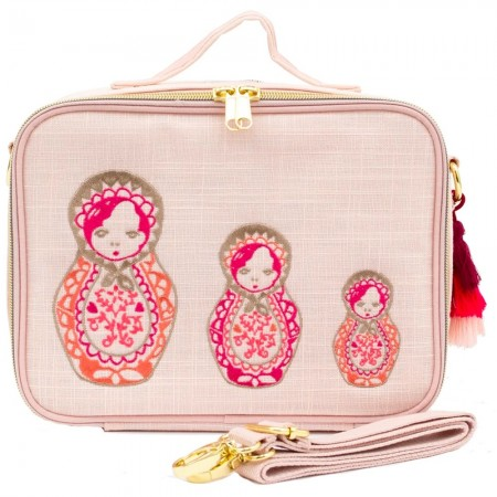 SoYoung Linen Insulated Lunch Box - Embroidered Dolls