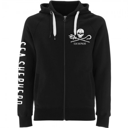 Sea Shepherd Jolly Roger Unisex Zip Hoodie - Black
