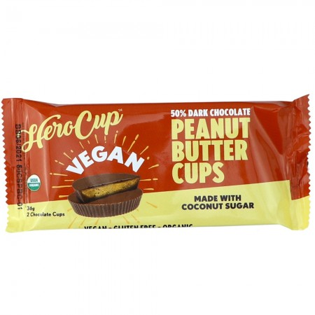 Hero Cup Vegan Peanut Butter Cups 2pk 36g - 50% Dark Chocolate
