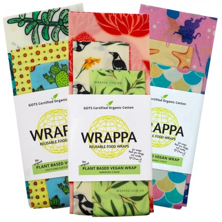 WRAPPA Vegan Organic Cotton and Wax Wrap - Set of 3