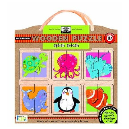 Green start wooden puzzle - splish splash
