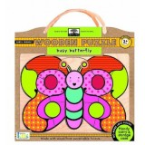 Green start wooden puzzle - busy butterfly