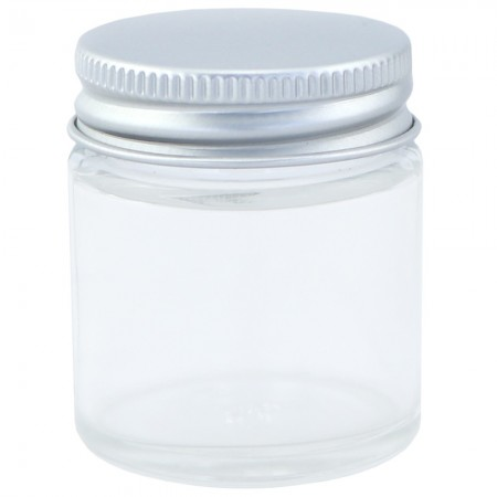 Clear Glass Jar with Silver Cap 30ml