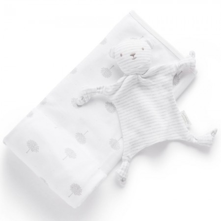 Purebaby Organic Cotton Bunny Rug & Snookie Gift Pack - Pale Grey Tree