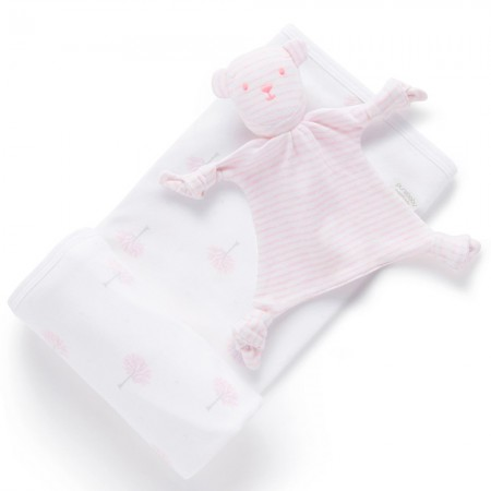 Purebaby Organic Cotton Bunny Rug & Snookie Gift Pack - Pale Pink Tree