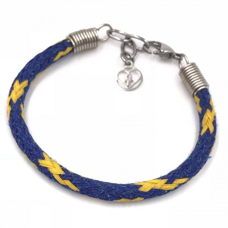 Planet Love Life Ghost Fishing Net Bracelet - Navy and Yellow