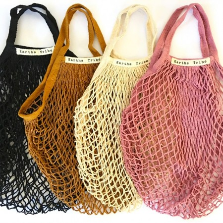 Earths Tribe String Carry Bag Dusty Pink