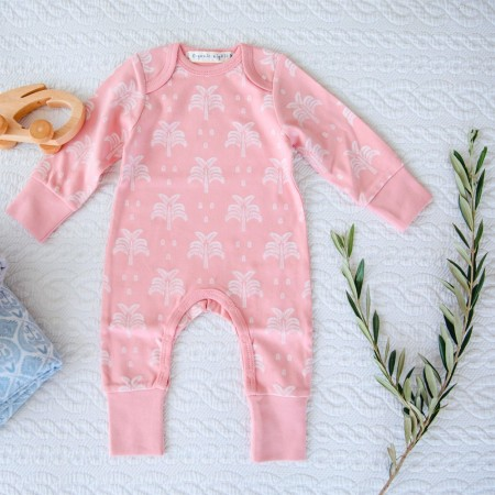 Organic Nights Baby Sleepsuit - Blush Pink