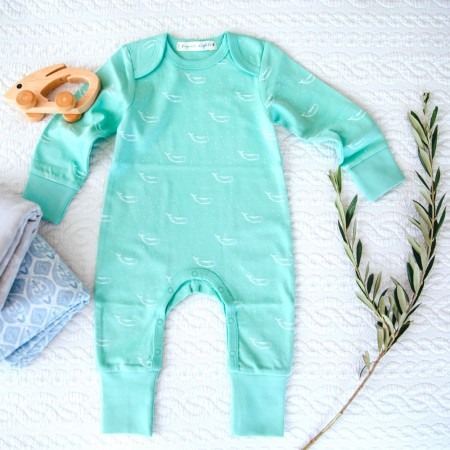 Organic Nights Baby Sleepsuit - Lichen Green