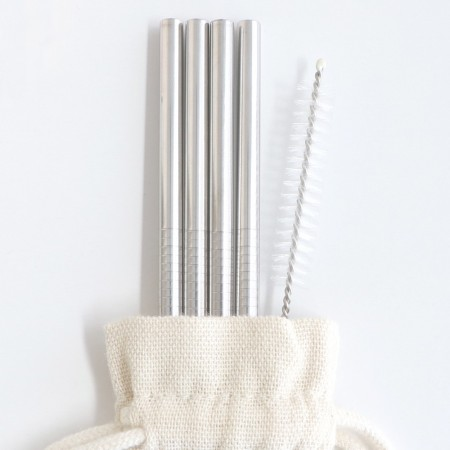 Stainless Steel Straw 4pk with cleaner & bonus pouch - 6mm straight