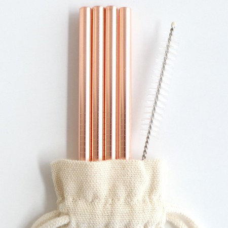 Stainless Steel Straw 4pk with cleaner & bonus pouch - 6mm straight rose gold