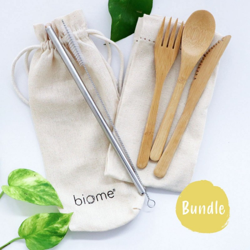 Biome Reusable Cutlery Set with Straw