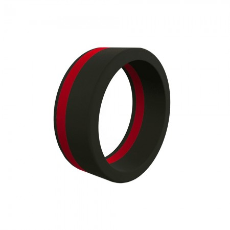 QALO Mens Thin Red Line Pinstripe Silicone Ring
