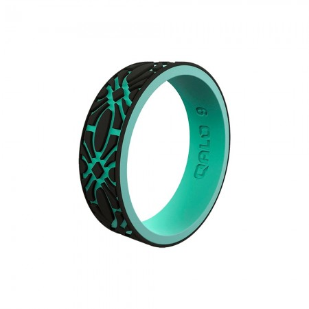 QALO Womens Strata Flora Silicone Ring - Black and Aqua