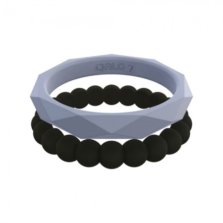 QALO Womens Amanda Silicone Stackable Ring Set - Purple & Black