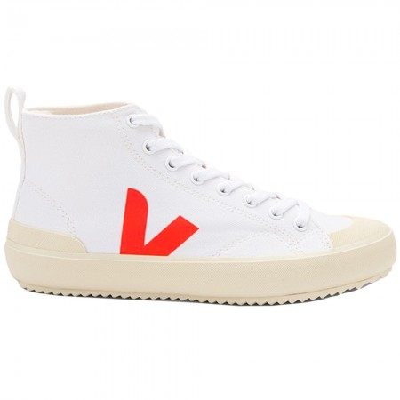 VEJA Nova High Top Canvas Sneaker - White & Orange Fluo