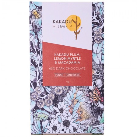 Kakadu Plum Co Dark Chocolate Bar 75g - Kakadu Plum, Lemon Myrtle & Macadamia