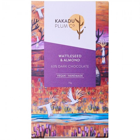 Kakadu Plum Co Dark Chocolate Bar 70g - Wattleseed & Almond