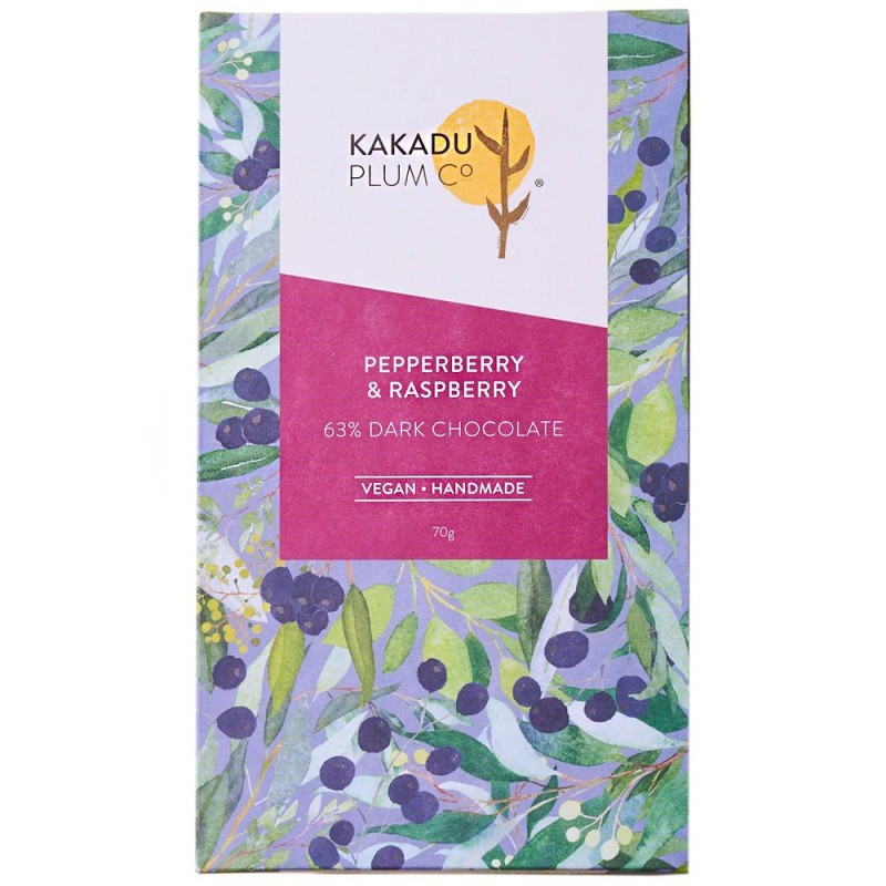 Kakadu Plum Co Dark Chocolate Bar 75g Pepperberry & Raspberry