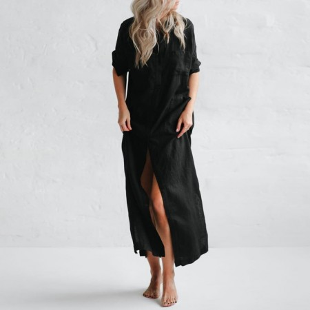 Seaside Tones Maxi Shirt Dress Black
