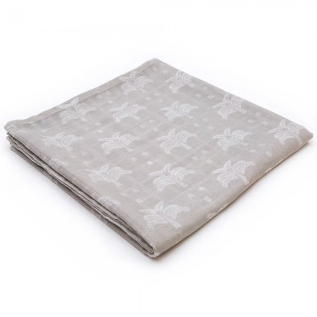 Organic Nights 100% Organic Cotton Muslin Swaddle - Grey Palms & Pineapples