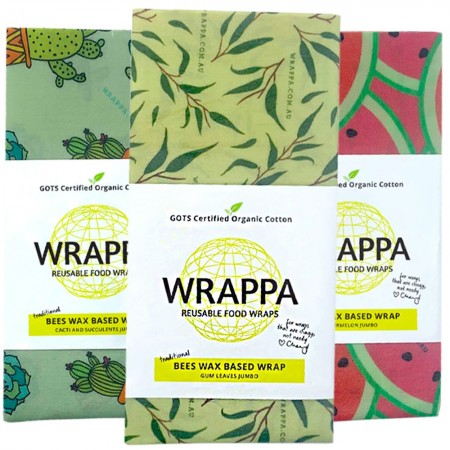 WRAPPA Beeswax Organic Cotton and Wax Wrap - Jumbo Individual