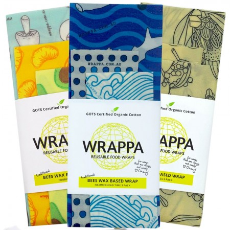 WRAPPA Beeswax Organic Cotton and Wax Wrap - Set of 3