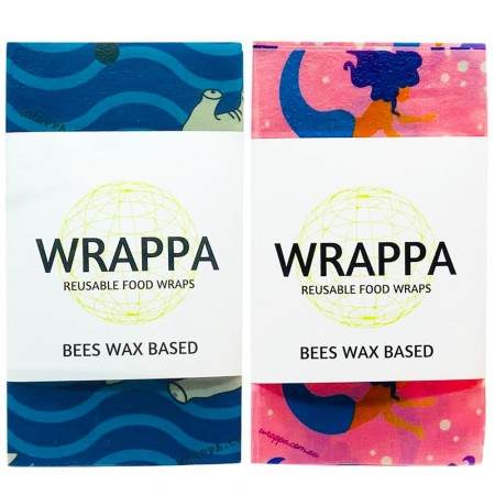WRAPPA Beeswax Organic Cotton and Wax Wrap - Snack Set of 4