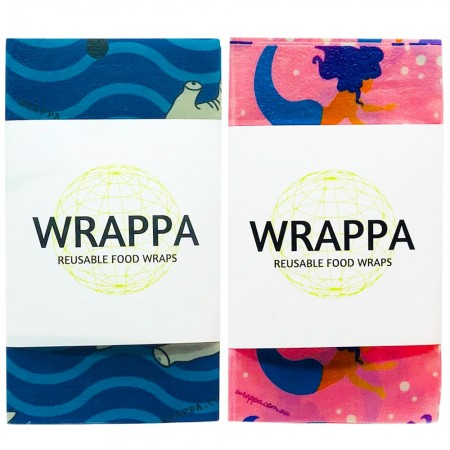 WRAPPA Vegan Organic Cotton and Wax Wrap - Snack Set of 4