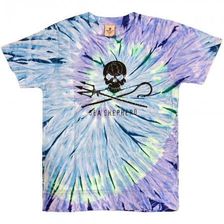Sea Shepherd Jolly Roger Unisex Tee - Blue Tie Dye