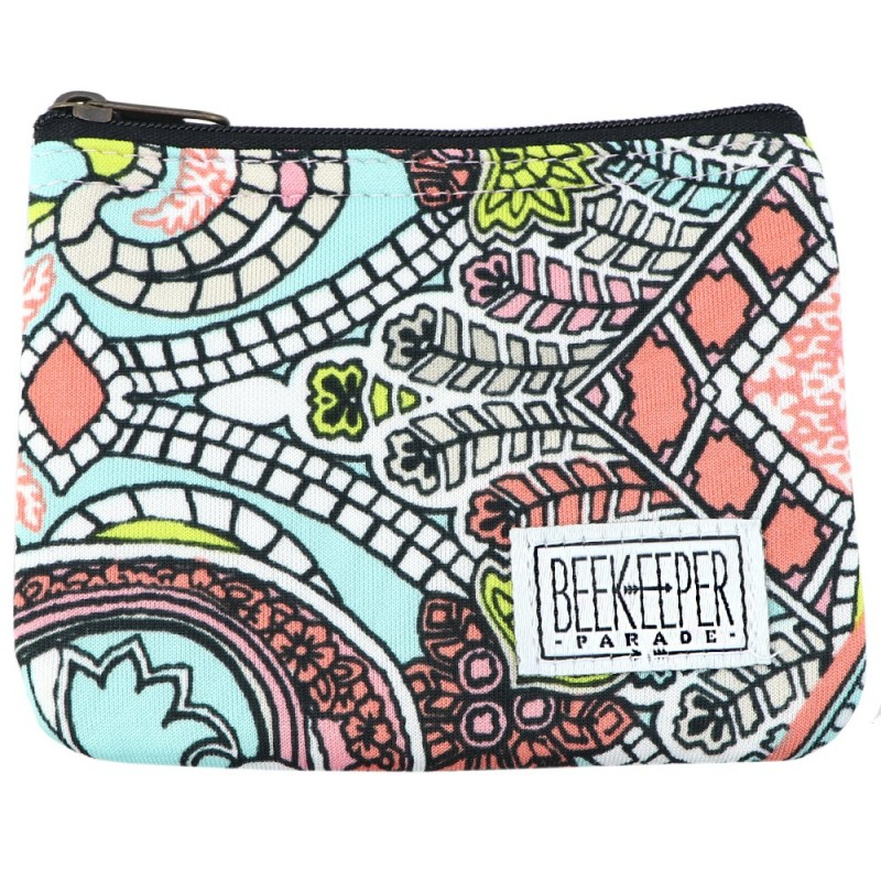Beekeeper Parade Coin Purse - Pink Floral Paisley