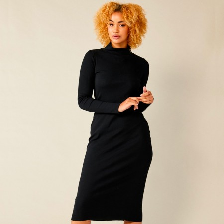 Lois Hazel Organic Cotton Rib Skivvy Dress - Black