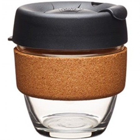 KeepCup Small Glass Cup Cork Band 8oz (227ml) - Espresso