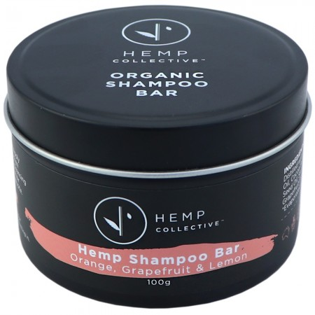 Hemp Collective Hemp Shampoo Bar Travel Tin 100g - Orange, Grapefruit & Lemon