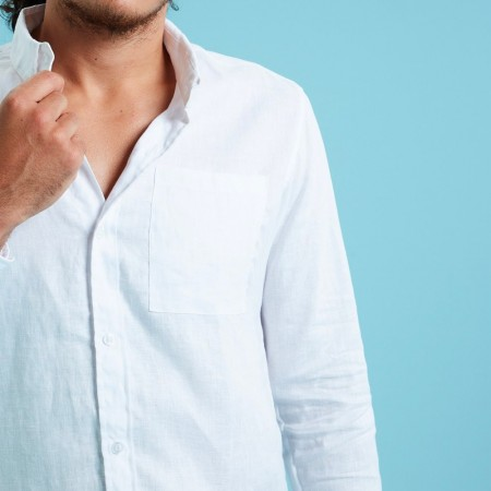 Theo The Label Mens Linen Shirt - White