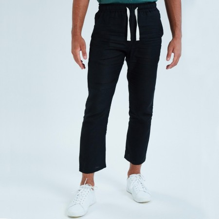 Theo The Label Mens Linen Pants - Black
