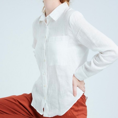 Theo The Label Womens Linen Shirt - White