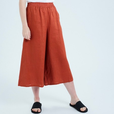 Theo The Label Womens Linen Culotte - Rust