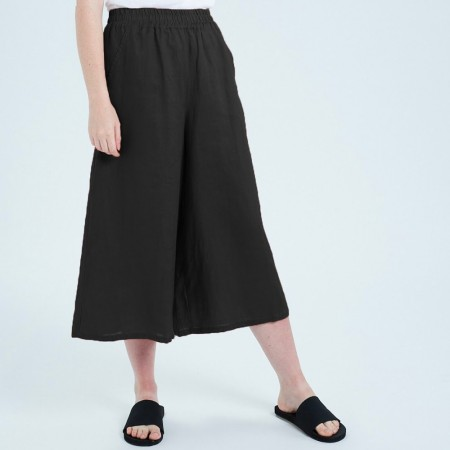 Theo The Label Womens Linen Culotte - Black