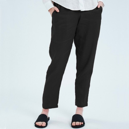 Theo The Label Womens Linen Pant - Black