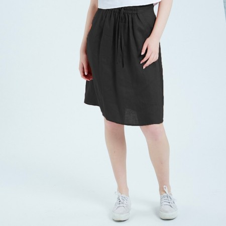 Theo The Label Womens Linen Skirt- Black