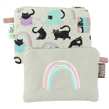 The Linen Press Large Organic Cotton Purse - Cat Love