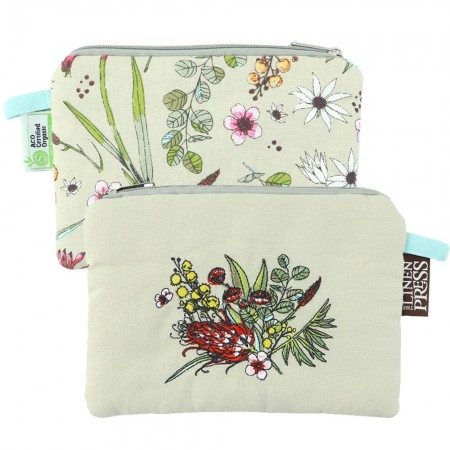 The Linen Press Large Organic Cotton Purse - Native Floral