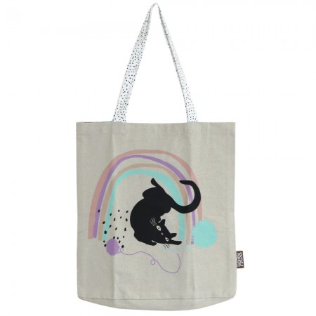 The Linen Press Organic Cotton Shopper Bag - Cat Love