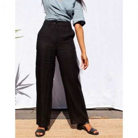 Form By T Jordan Linen Pants - Black