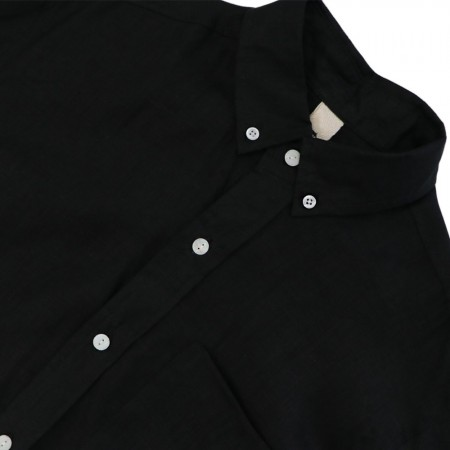 Theo The Label Mens Linen Shirt - Black
