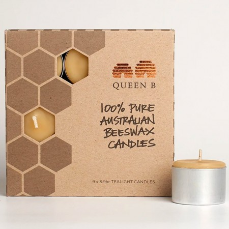 Queen B Beeswax Tealights Candles (9pk) - 8-9hr