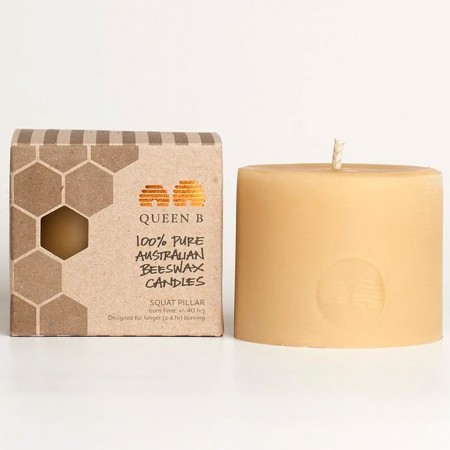 Queen B Beeswax Squat Pillar Candle - 6cm/40hr Burn Time